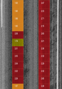 Bleeding Index Diplay on Intensity Image Severe (red) and Medium (orange) and Light (Yellow) severity